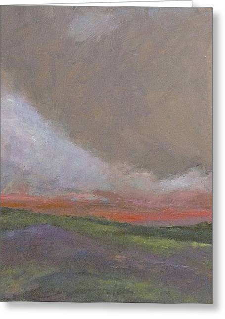 Abstract Landscape - Scarlet Light Greeting Card