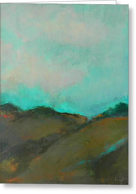 Abstract Landscape - Turquoise Sky Greeting Card