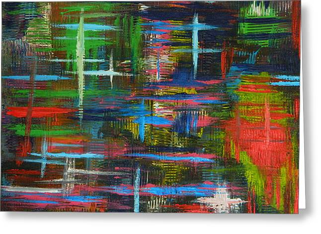 Greeting Card featuring the painting Abstract Lines by Everette McMahan jr