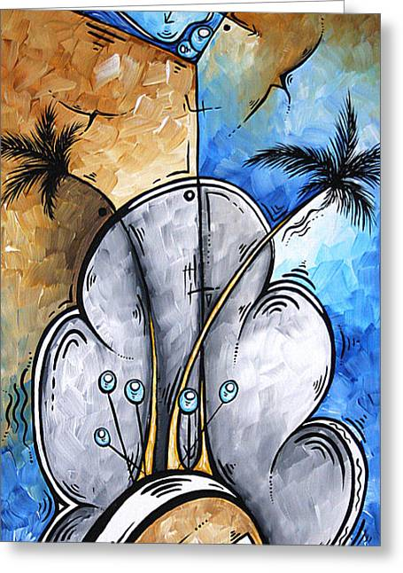 Abstract Martini Tropical Contemporary Original Painting Martini On The Beach By Madart Greeting Card by Megan Duncanson