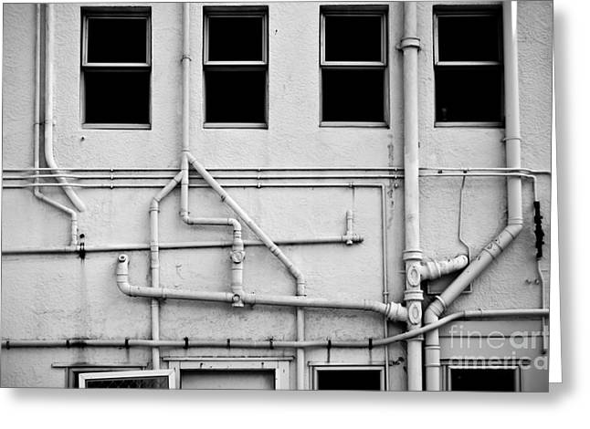Abstract Pipes On The Textured Wall Greeting Card