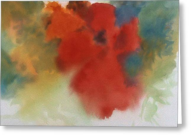 Abstract Red Poppy Greeting Card by Alethea McKee