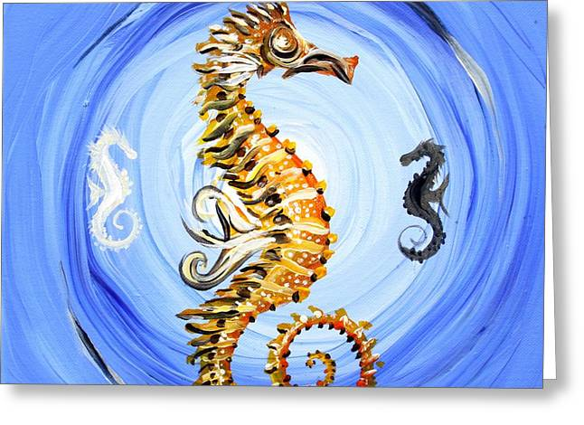Abstract Sea Horse Greeting Card by J Vincent Scarpace