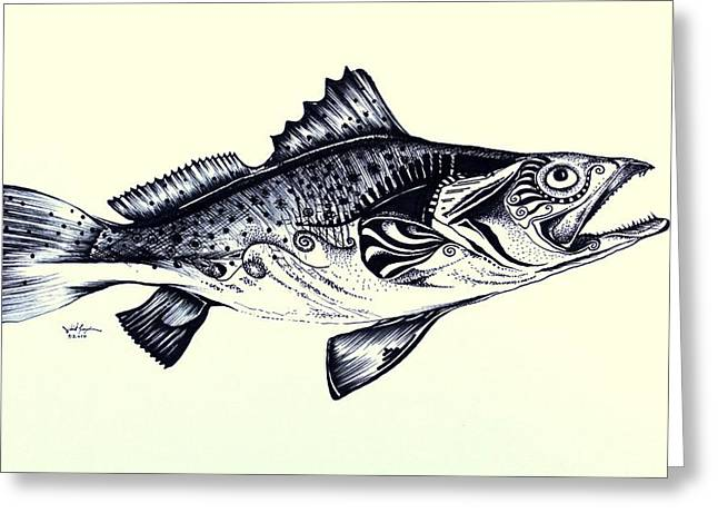 Abstract Speckled Trout Greeting Card by J Vincent Scarpace