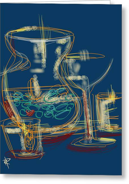 Abstract Still Life With Vase Greeting Card by Russell Pierce
