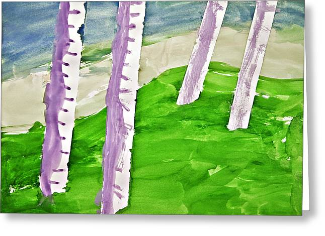 Abstract Trees Greeting Card by Susan Leggett