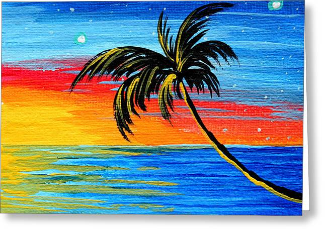 Abstract Tropical Palm Tree Painting Tropical Goodbye By Madart Greeting Card