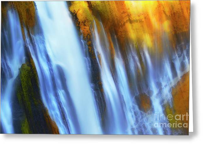 Abstract Waterfalls Greeting Card by Keith Kapple