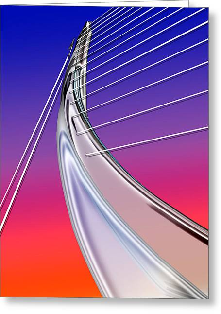 Abstract Wired Steel Arc On Rainbow Neon Greeting Card by Elaine Plesser