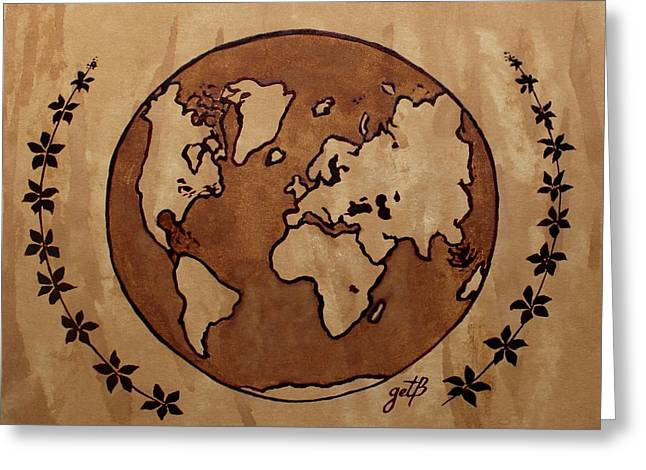 Abstract World Globe Map Coffee Painting Greeting Card