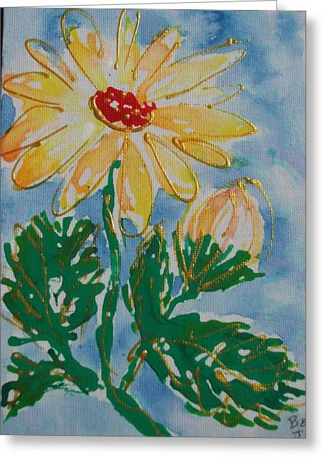 Abstract Yellow Daisy Greeting Card by Jan Soper