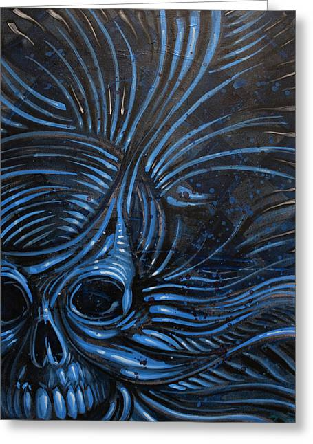 Abstracted Skull Greeting Card by Joshua Dixon