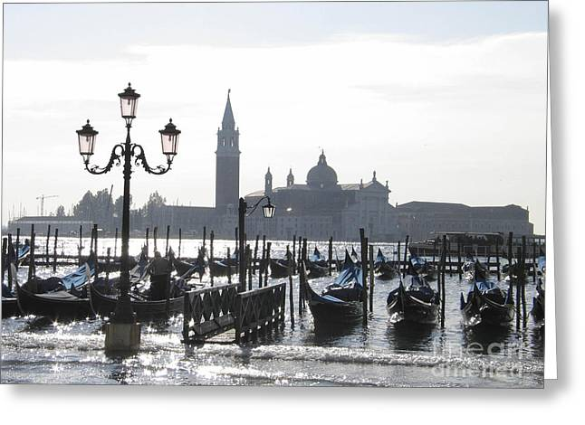 Acqua Alta . Venice Greeting Card by Bernard Jaubert