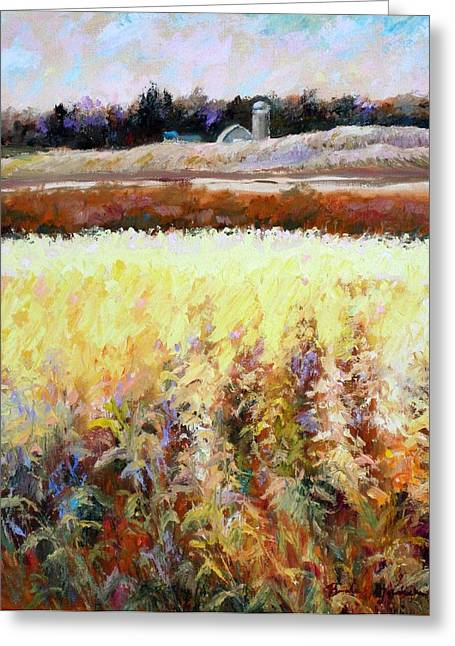 Greeting Card featuring the painting Across The Cornfield by Bonnie Goedecke