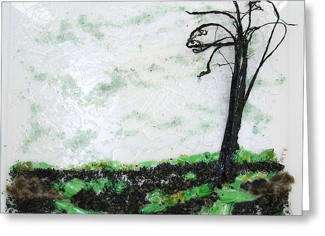 Across The Field Greeting Card by Mariann Taubensee