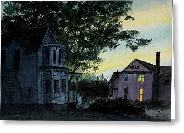 Across The Street Greeting Card by Arthur Barnes