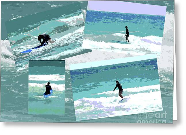 Action Surfing Print Greeting Card by ArtyZen Kids