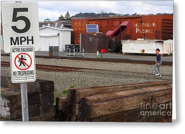Active Railroad . No Tresspassing Greeting Card by Wingsdomain Art and Photography