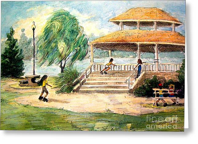 Greeting Card featuring the painting Acworth Park by Gretchen Allen