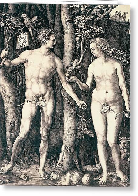 Adam And Eve Greeting Card by Albrecht Durer