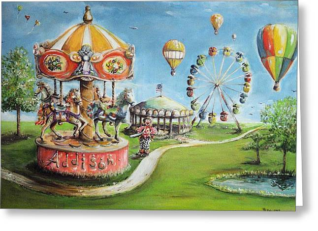 Greeting Card featuring the painting Carnival by Bernadette Krupa