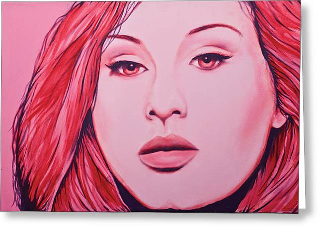 Adele Greeting Card by Derek Donnelly