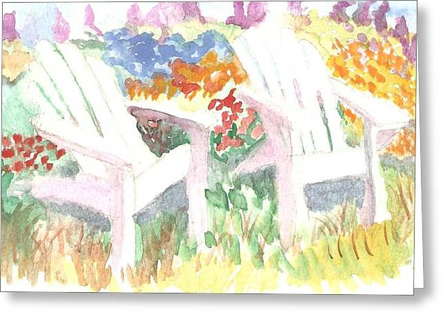 Adirack Chairs In The Garden  Greeting Card by Thelma Harcum