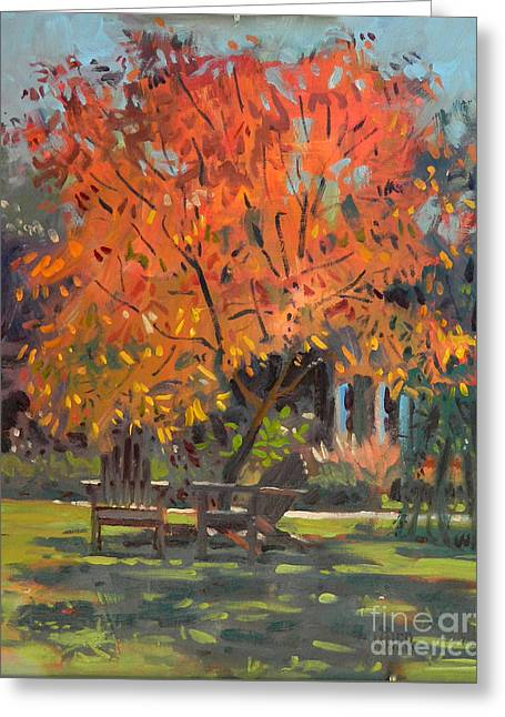 Adirondack Chairs Greeting Card by Donald Maier