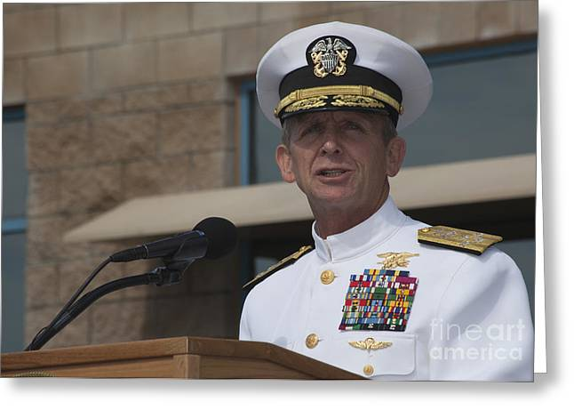 Admiral Eric Olson Speaks Greeting Card by Michael Wood