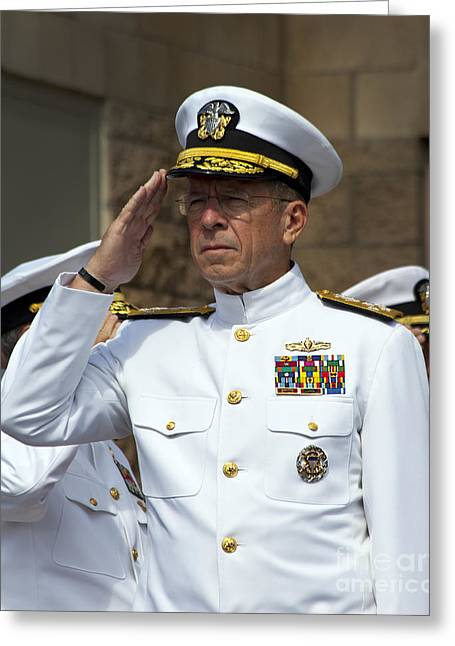 Admiral Michael Mullen Salutes Greeting Card by Michael Wood