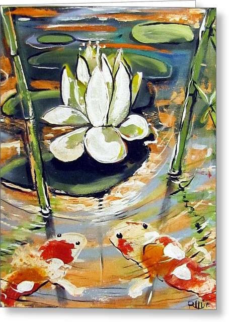 Admiring A Lotus Greeting Card by Robert Wolverton Jr
