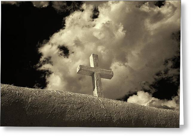 Adobe And Cross Greeting Card by Christine Hauber