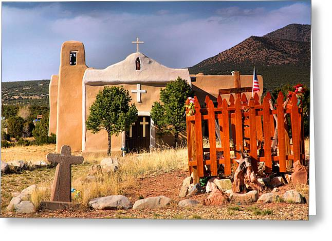 Adobe Church At Golden Greeting Card by Steven Ainsworth