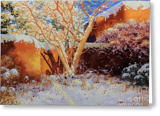 Adobe Wall With Tree In Snow Greeting Card by Gary Kim