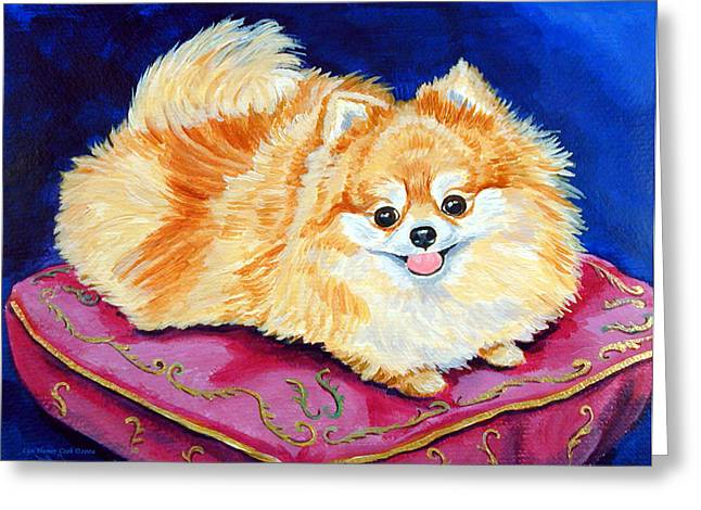 Adoration - Pomeranian Greeting Card by Lyn Cook