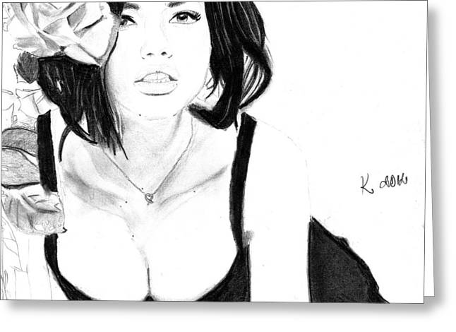 Adriana Lima Greeting Card by Kristina Mladenova