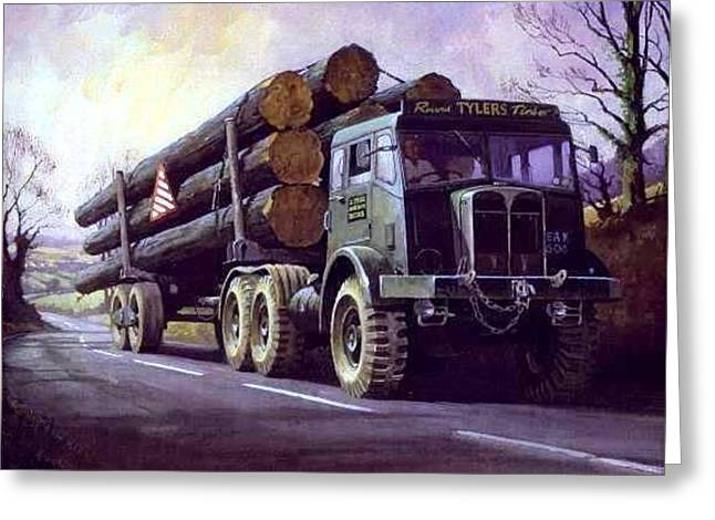 Aec Militant On Round Timber. Greeting Card by Mike  Jeffries