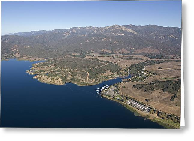 Aerial Of Lake Casitas At Full Capacity Greeting Card by Rich Reid
