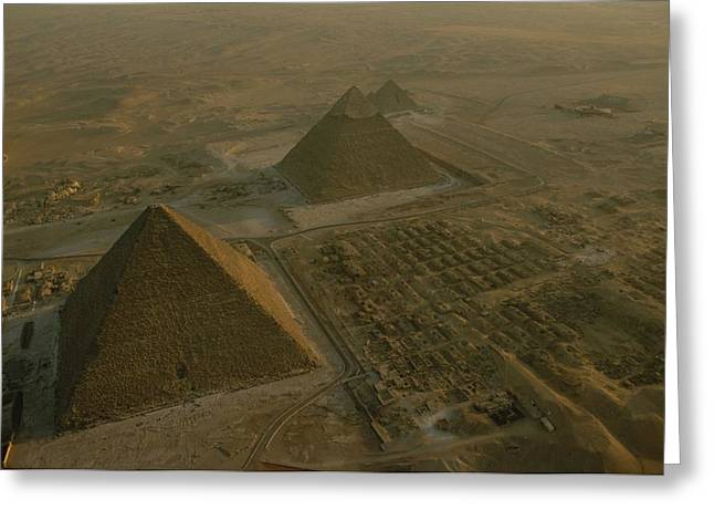 Aerial Of Pryamids Of Giza.  From Left Greeting Card