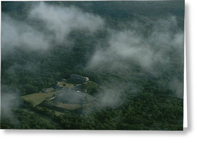 Aerial Of The Ruins Of A Mayan City Greeting Card