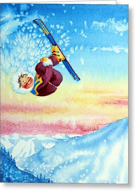 Aerial Skier 13 Greeting Card by Hanne Lore Koehler