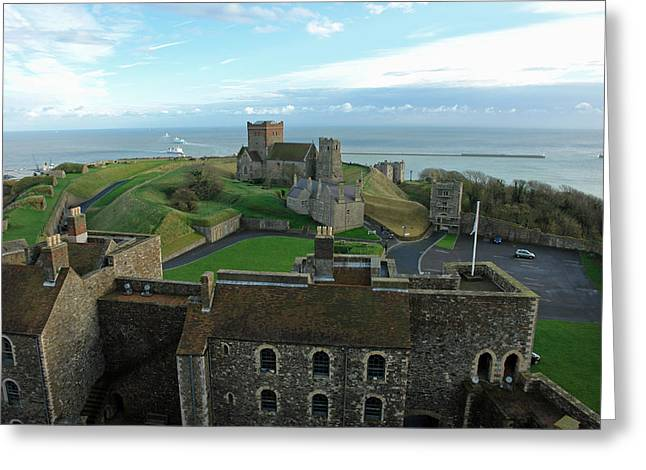 Aerial View Of Dover Castle Greeting Card by Ashish Agarwal