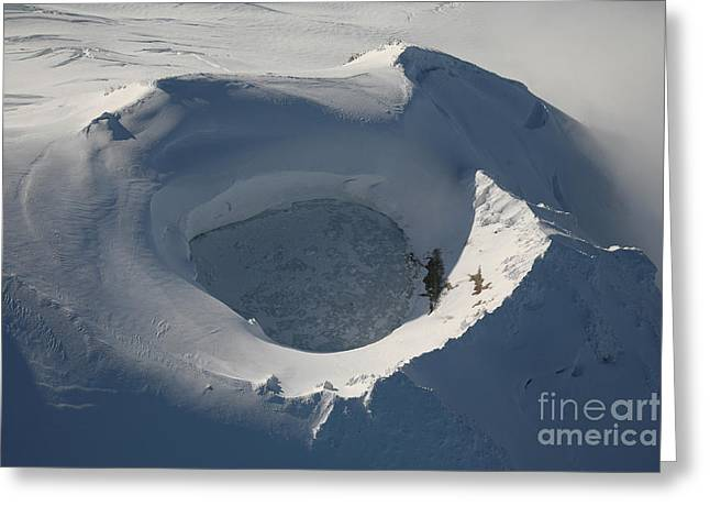 Aerial View Of Frozen Lake In Summit Greeting Card by Richard Roscoe