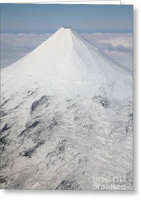 Aerial View Of Glaciated Shishaldin Greeting Card by Richard Roscoe