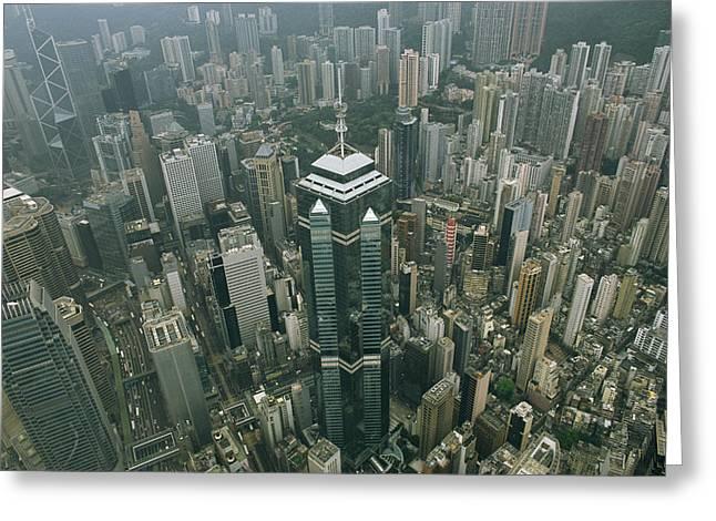 Aerial View Of Hong Kongs Skyline Seen Greeting Card