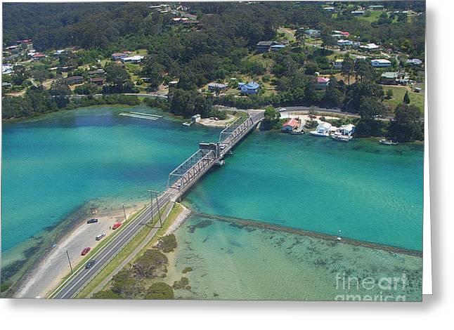 Aerial View Of Narooma Bridge And Inlet Greeting Card by Joanne Kocwin