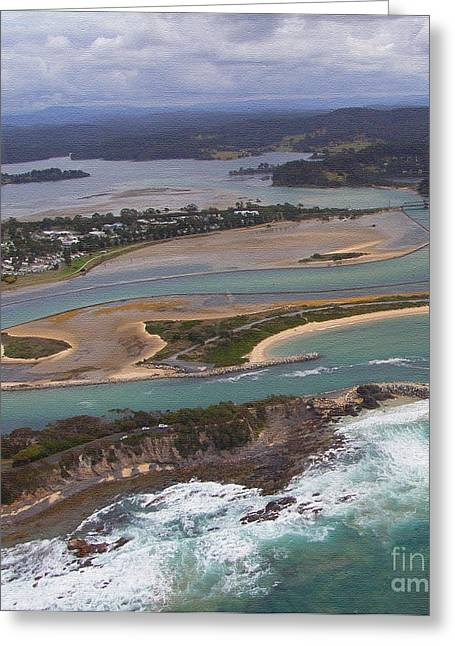 Aerial View Of Narooma Inlet Greeting Card by Joanne Kocwin
