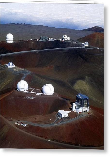 Aerial View Of Observatories At Mauna Kea, Hawaii Greeting Card by John Sanford
