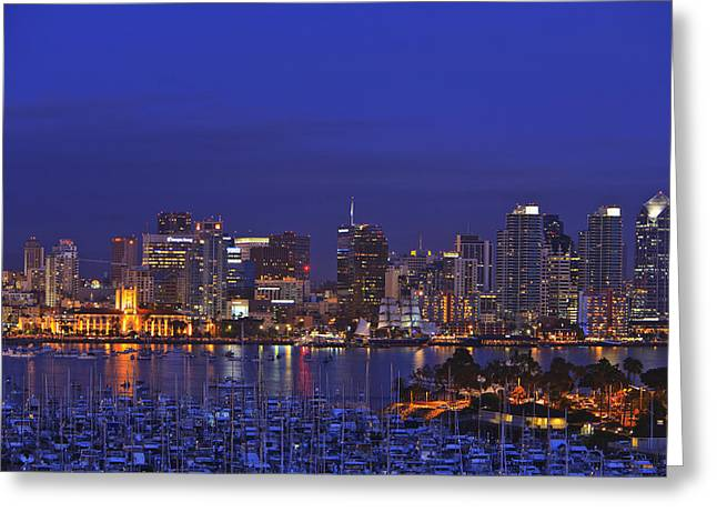 Aerial View Of San Diego Skyline With Greeting Card by Stuart Westmorland