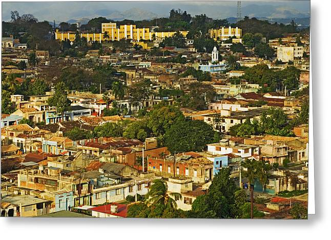 Aerial View Of Santiago De Cuba, Cuba Greeting Card by Axiom Photographic